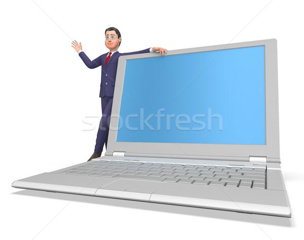 Businessman On Laptop Shows Blank Space And Biz Stock photo © stuartmiles