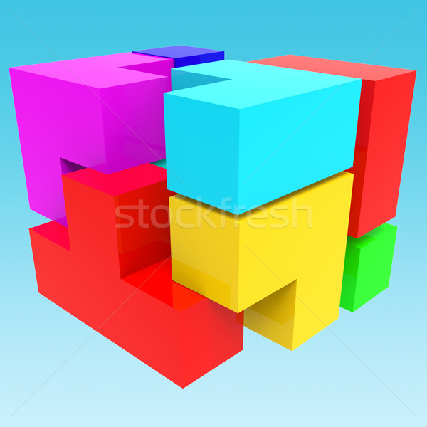 Synergy Blocks Shows Team Work And Collaborate Stock photo © stuartmiles