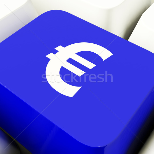 Euro Symbol Computer Key In Blue Showing Money And Investment Stock photo © stuartmiles