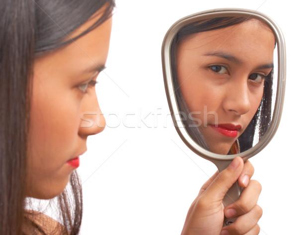 Unglücklich Mädchen schauen Spiegel Reflexion Lächeln Stock foto © stuartmiles