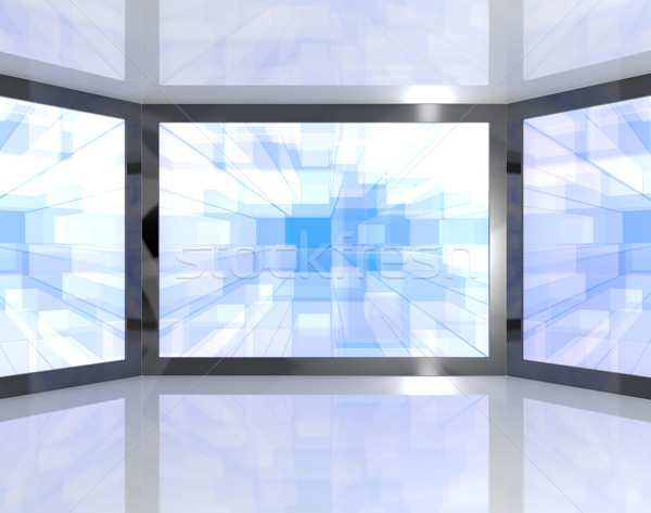 Big Blue TV Monitors Wall Mounted Representing High Definition T Stock photo © stuartmiles