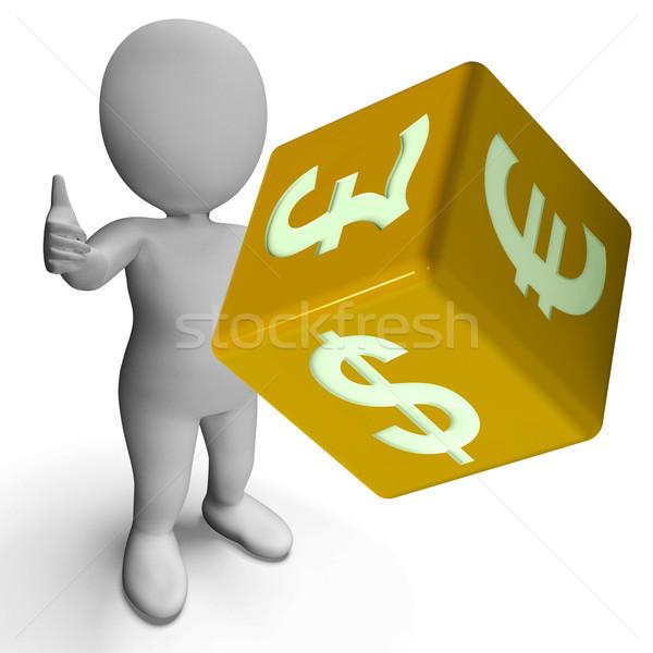 Dollar Pound And Euro Symbols On A Dice Stock photo © stuartmiles