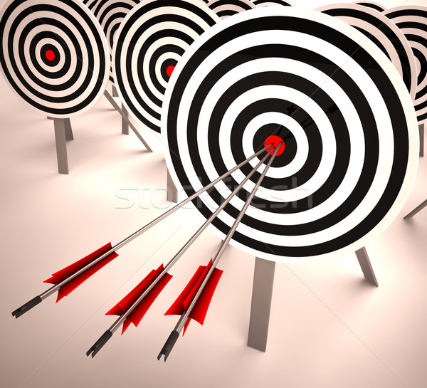 Triple Target Shows Accuracy, Aim And Skill Stock photo © stuartmiles
