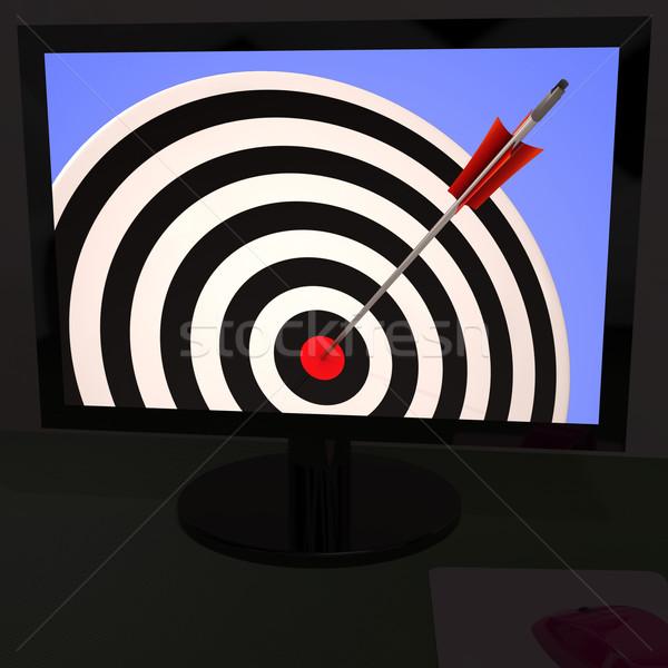 Darts tábla monitor kiválóság hatásfok cél tv Stock fotó © stuartmiles
