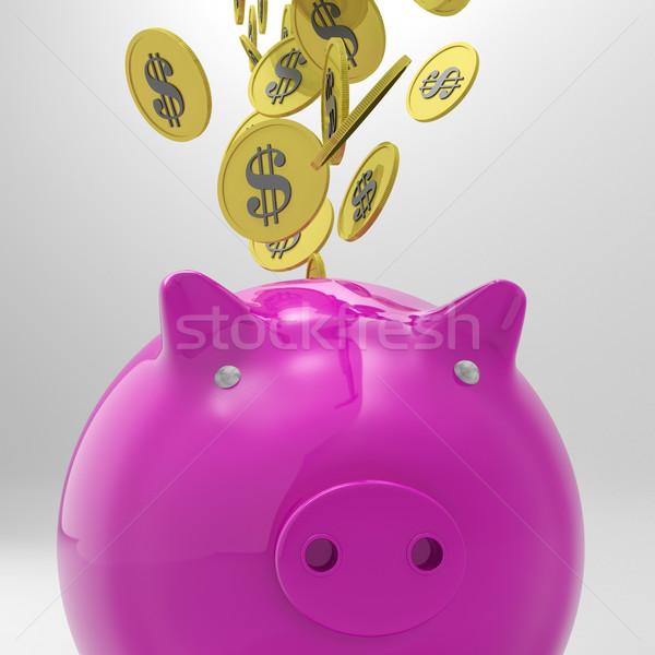Coins Entering Piggybank Shows American Wealth Stock photo © stuartmiles