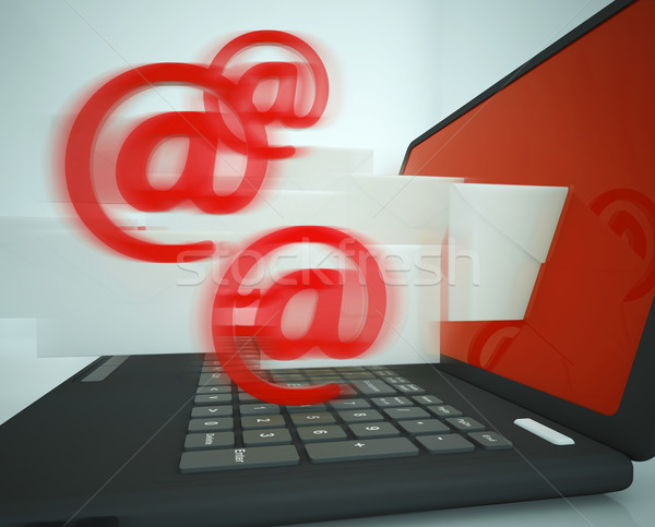 Mail Signs Leaving Laptop Showing Outgoing Messages Stock photo © stuartmiles