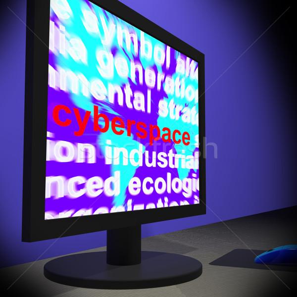 Cyberprzestrzeń monitor online technologii Zdjęcia stock © stuartmiles