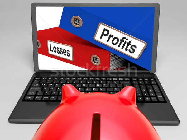 Profits And Looses Files On Laptop Shows Expenses Stock photo © stuartmiles