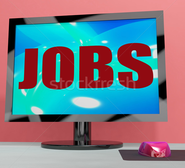 Jobs On Monitor Shows Employment Or Hiring Online Stock photo © stuartmiles