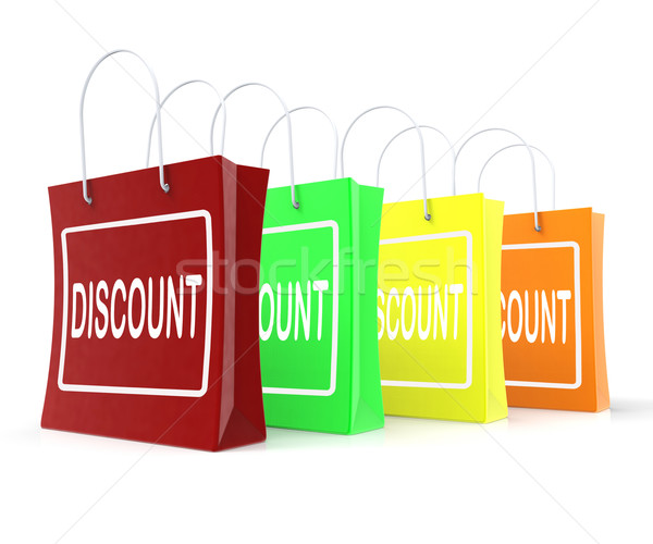 Discount Shopping Bags Means Cut Price Or Reduce Stock photo © stuartmiles