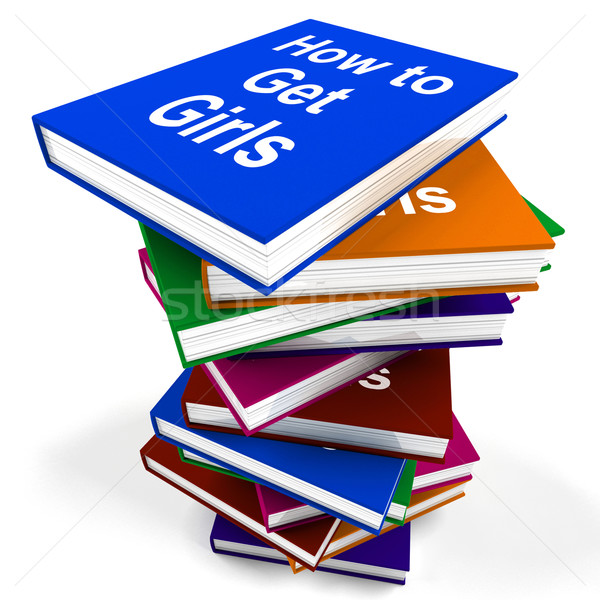 Stock photo: How To Get Girls Book Stack Shows Improved Score With Chicks