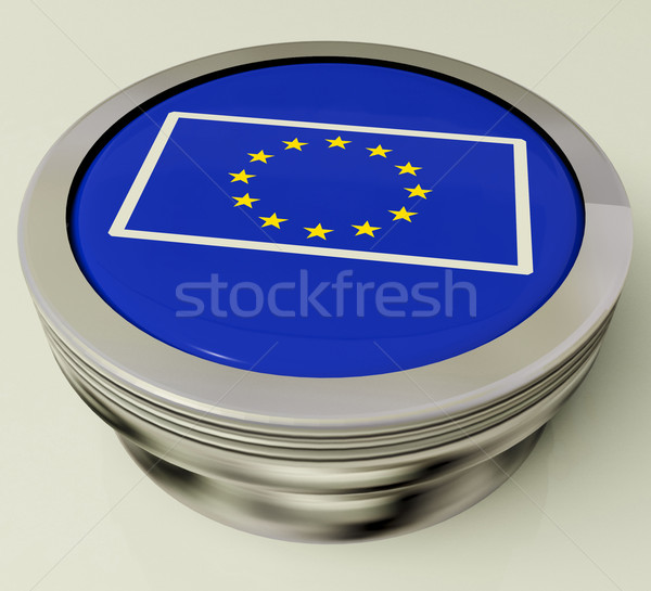 European Union Flag Button Shows Government Of Europe Stock photo © stuartmiles