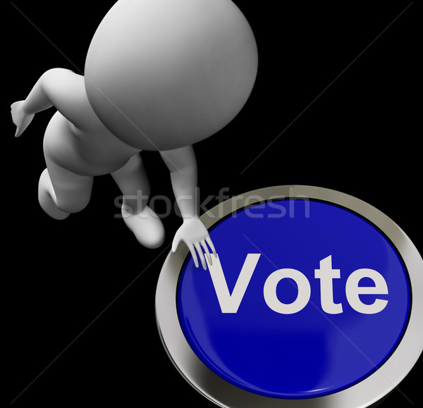 Vote Button Shows Poll Election Or Choosing Stock photo © stuartmiles