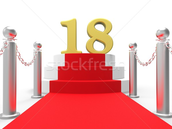 Golden Eighteen On Red Carpet Means Celebrity Eighteenth Birthda Stock photo © stuartmiles