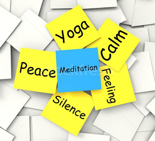 Meditáció jegyzet pihenés megvilágosodás mutat Stock fotó © stuartmiles