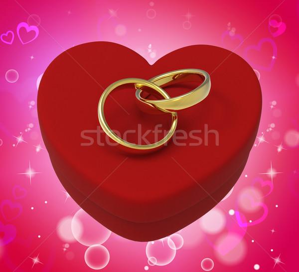 Alliances coeur boîte romantique proposition Photo stock © stuartmiles