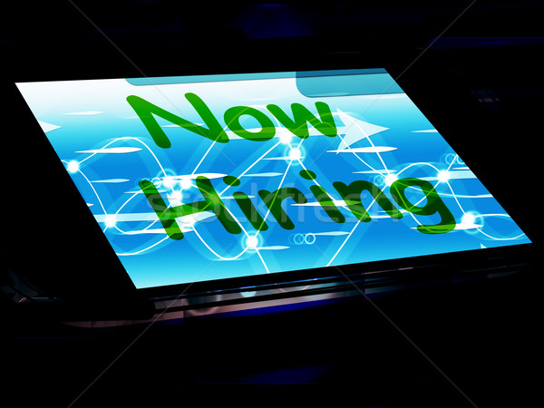 Now Hiring On Screen Shows Recruitment Online Hire Jobs Stock photo © stuartmiles