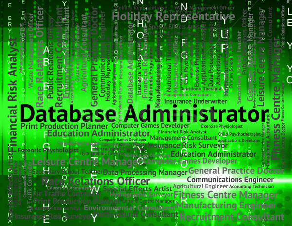 Database beheerder bezetting tonen uitvoerende woord Stockfoto © stuartmiles