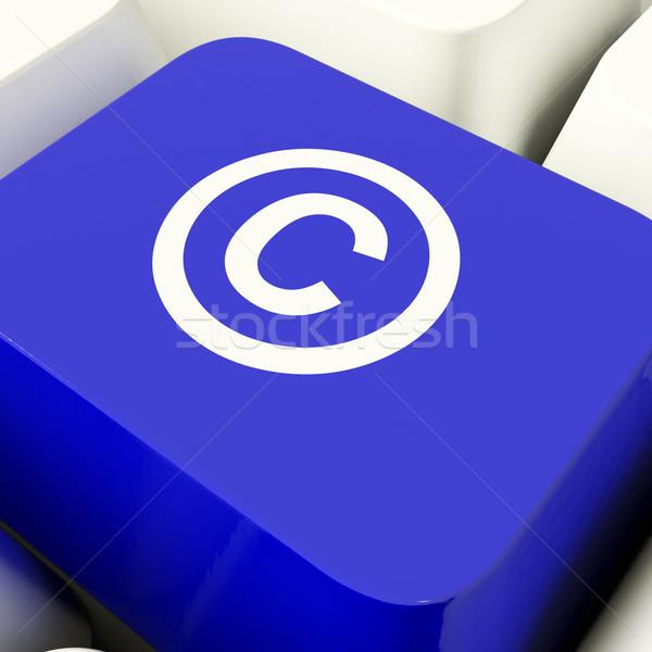 Szerzői jog számítógép kulcs kék mutat szabadalom Stock fotó © stuartmiles