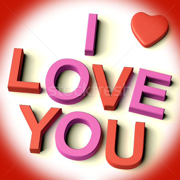 Letters Spelling I Love You With Heart As Symbol For Celebration