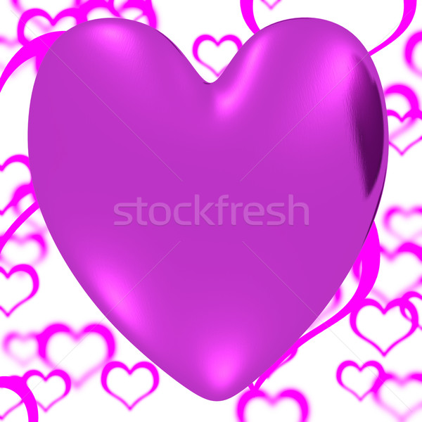 Mauve Heart On A Hearts Background Showing Love Romance And Vale Stock photo © stuartmiles