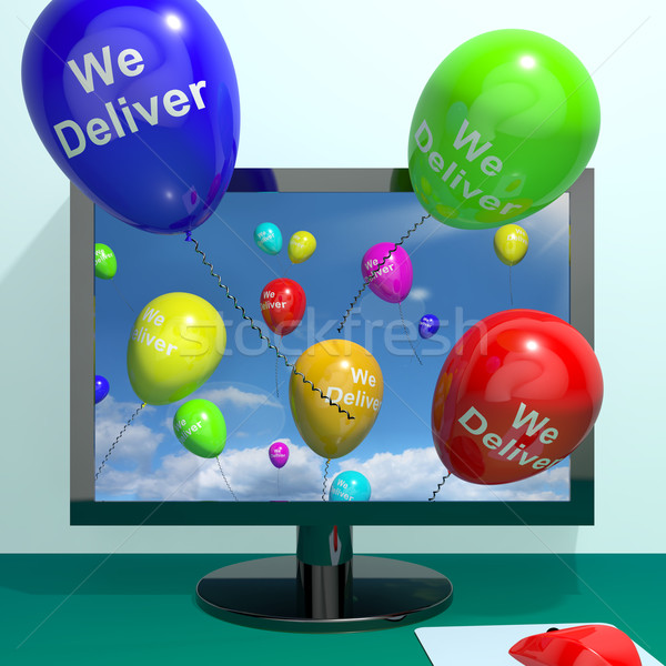 We Deliver Balloons From Computer Showing Delivery Shipping Serv Stock photo © stuartmiles