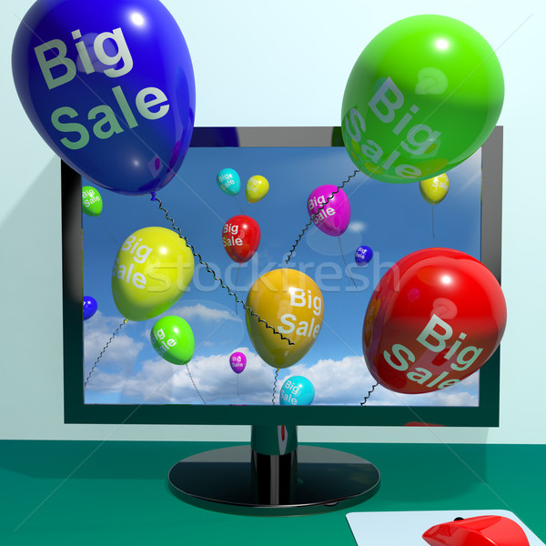 Sale Balloons Coming From Computer Showing Promotion Discount An Stock photo © stuartmiles