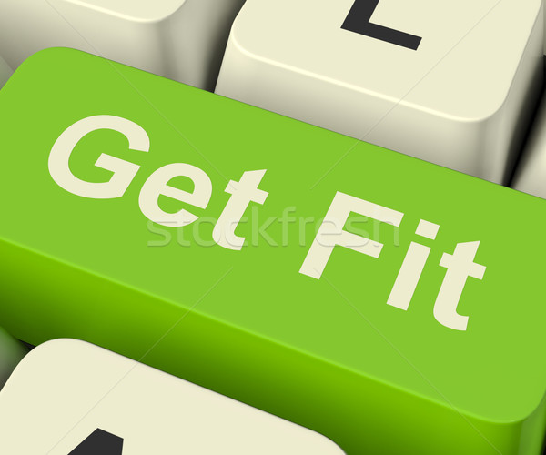 Stock photo: Get Fit Computer Key Showing Exercise And Working Out For Fitnes