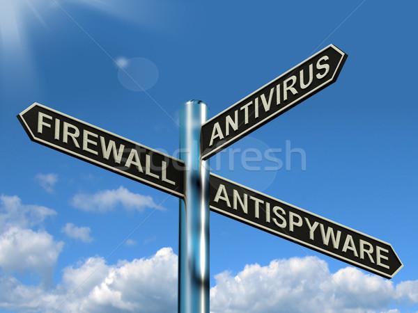 Tűzfal antivírus útjelző tábla mutat internet számítógép Stock fotó © stuartmiles
