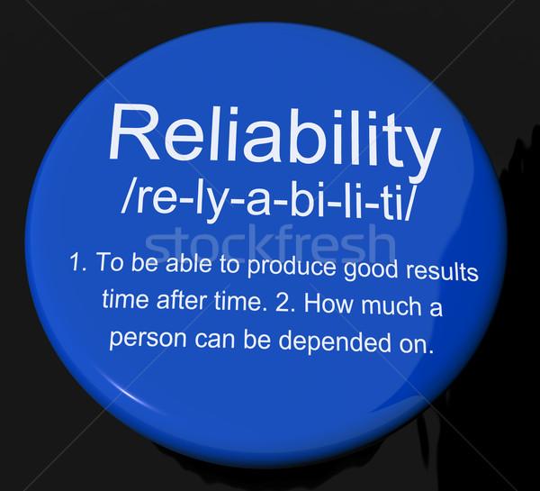 Foto stock: Confiabilidad · definición · botón · confianza · calidad