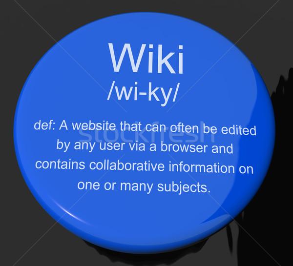 Wiki definitie knop tonen online gemeenschap Stockfoto © stuartmiles