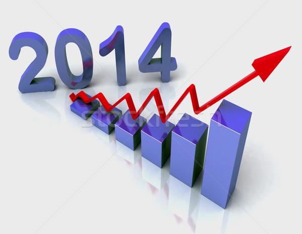 2014 bleu graphique à barres budgétaire succès Photo stock © stuartmiles