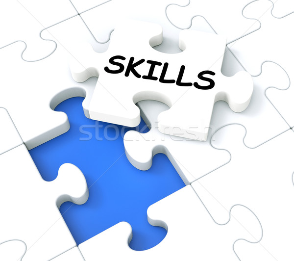 Skills Puzzle Shows Aptitudes And Talents Stock photo © stuartmiles