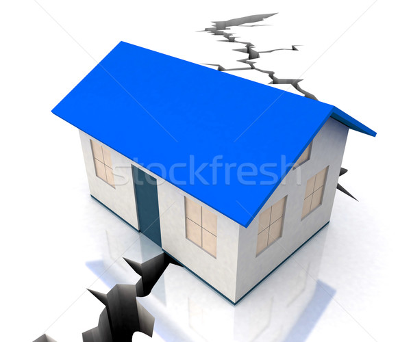 Blue Roof House On Crack Shows Disaster Stock photo © stuartmiles