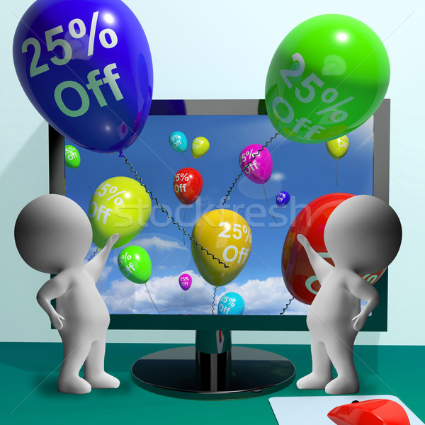 Balloons From Computer Showing Sale Discount Of Twenty Five Perc Stock photo © stuartmiles