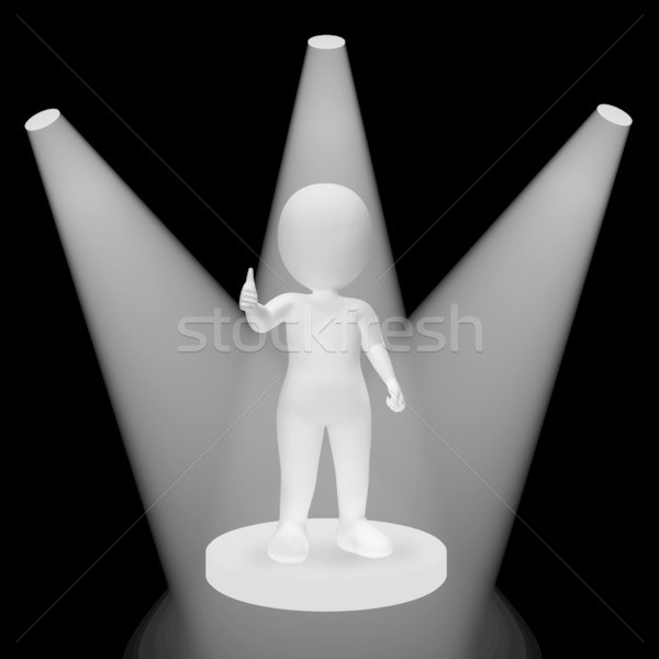 White Spotlights On Character Showing Success Fame And Performan Stock photo © stuartmiles