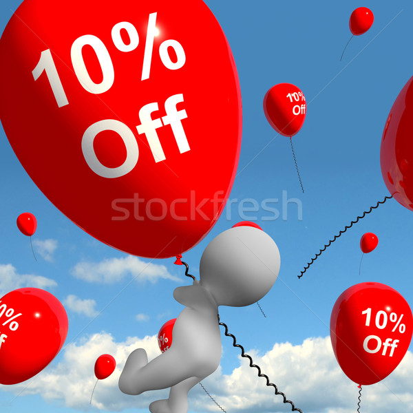 Balloon With 10% Off Showing Discount Of Ten Percent Stock photo © stuartmiles