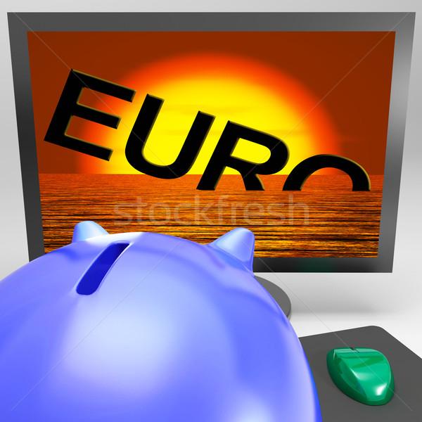 Euro Sinking On Monitor Shows Financial Risk Stock photo © stuartmiles