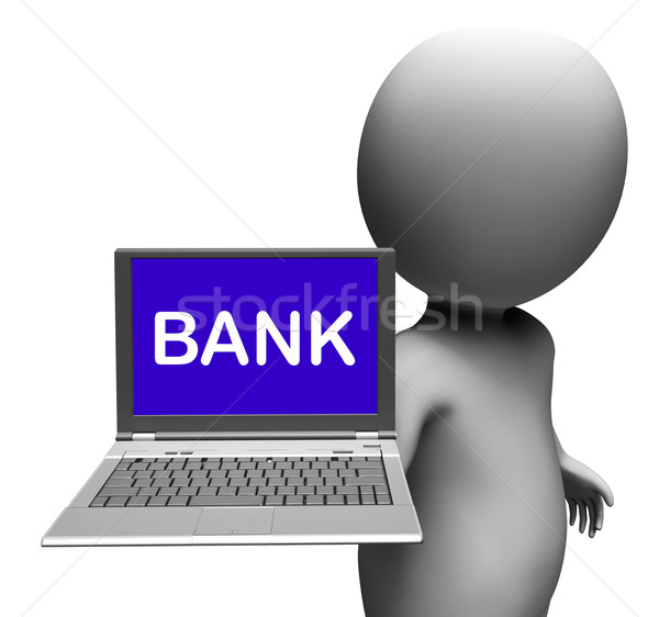 Bank Laptop Shows Internet Payments Or Electronic Banking Online Stock photo © stuartmiles