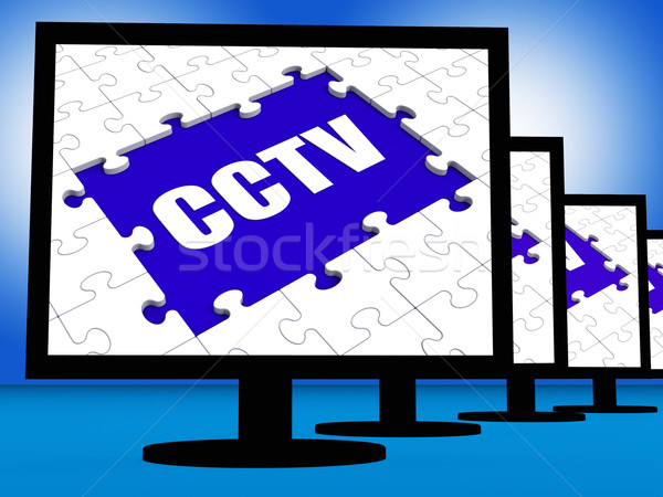CCTV Monitor Shows Security Surveillance Protection Or Monitorin Stock photo © stuartmiles