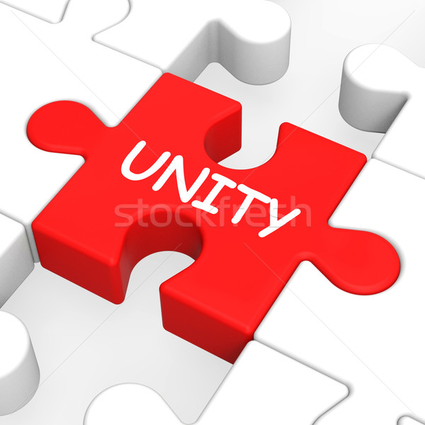Unity Puzzle Shows Team Teamwork Or Collaboration Stock photo © stuartmiles