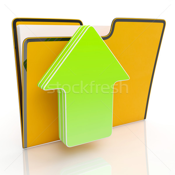 Upload Arrow And File Shows Uploading Stock photo © stuartmiles