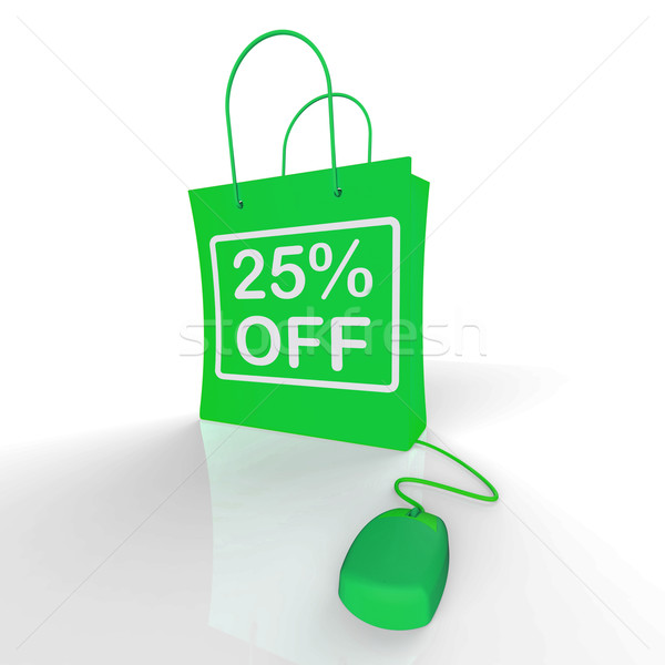 Twenty-five Percent Off Bag Represents Online Shopping 25  Disco Stock photo © stuartmiles