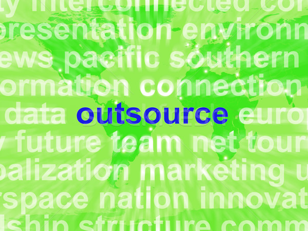 Outsource Word Cloud Shows Subcontract And Freelance Stock photo © stuartmiles