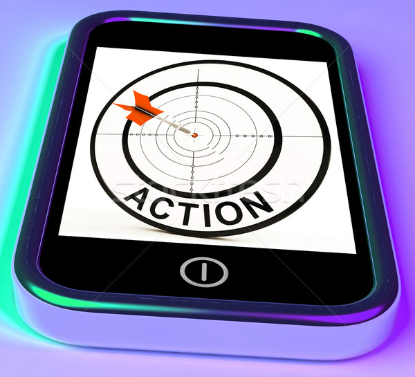 Action Smartphone Shows Acting To Reach Goals Stock photo © stuartmiles