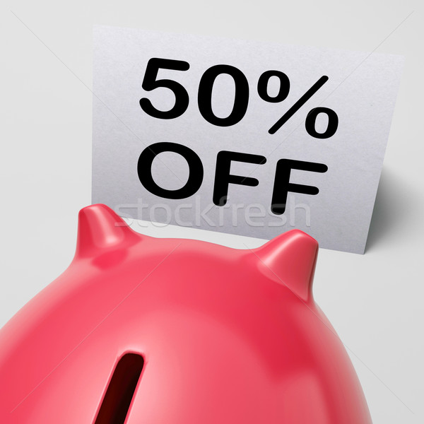 Fifty Percent Off Piggy Bank Shows 50 Half-Price Promotion Stock photo © stuartmiles