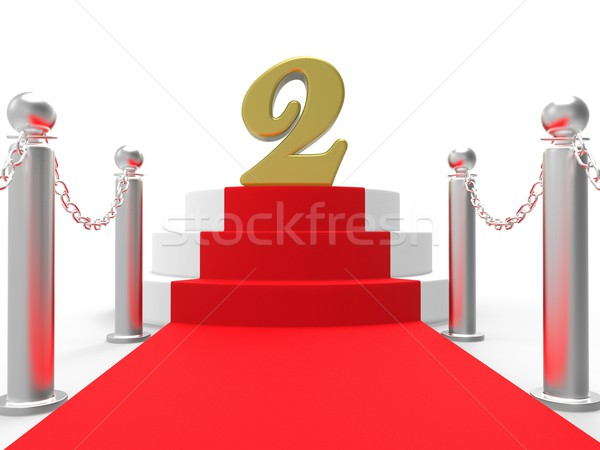 Golden Two On Red Carpet Shows Movies Awards Or Second Place Stock photo © stuartmiles