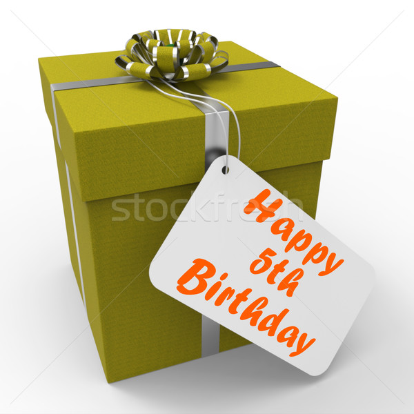 Happy Fifth Birthday Gift Means Five Years Old Stock photo © stuartmiles