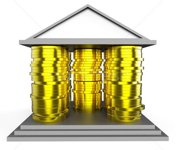 Ház jelzálog pénz épület jelentés lakáshitel Stock fotó © stuartmiles