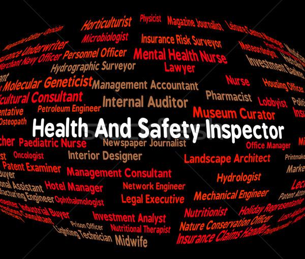Woord gezondheid controleren monitor baan veiligheid Stockfoto © stuartmiles